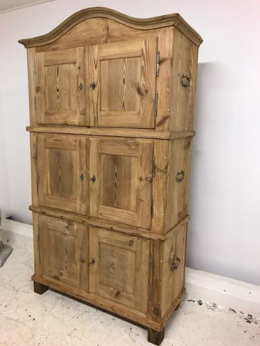 Antique French Three Section Cupboard ( Modular ) - Stripped  Pine - py67
